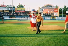 Steve Oehlert throws first pitch at a Reading Phillies game